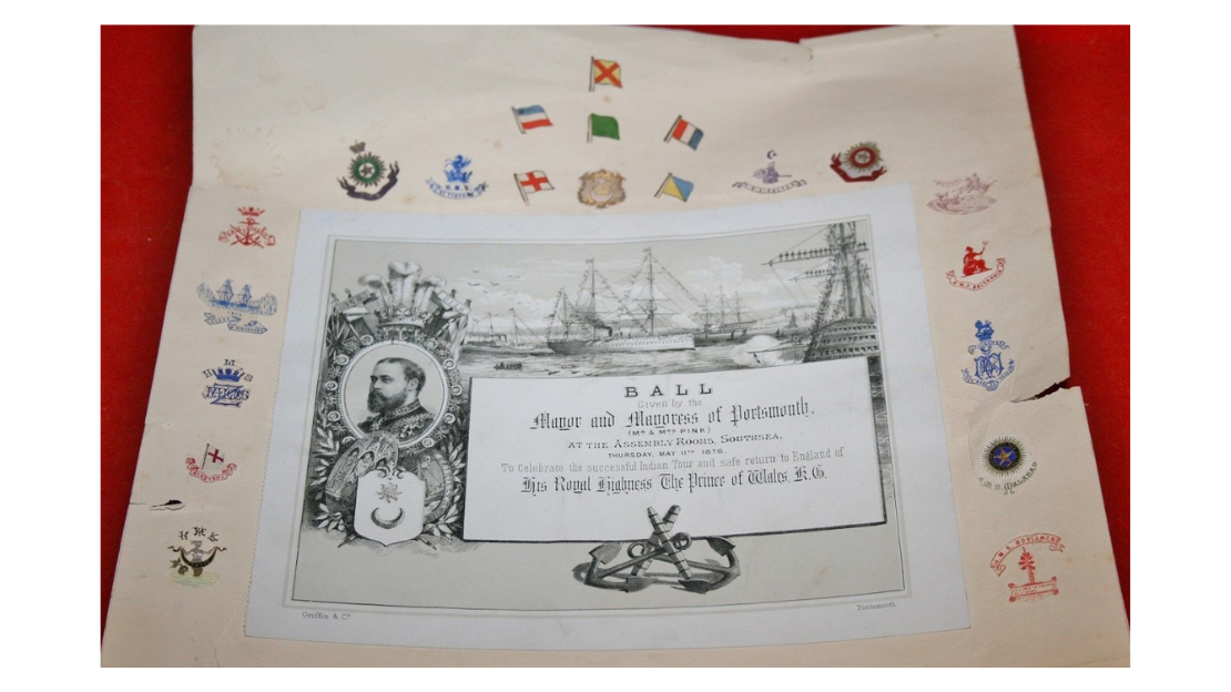 An invite to a ball thrown in celebration of PoW return from India 1876