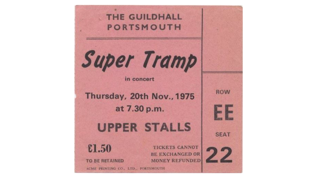 A ticket for Super Tramp in 1975